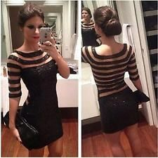 Lady Women Sexy Sequins Bodycon Cocktail Clubwear Evening Party Sheer Mini Dress