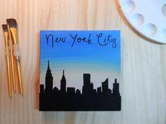 New York City skyline silhouette handmade canvas by Store94Crafts