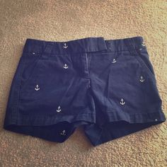 J.Crew navy blue & white anchor shorts!! Really cute and gently worn! J. Crew Shorts