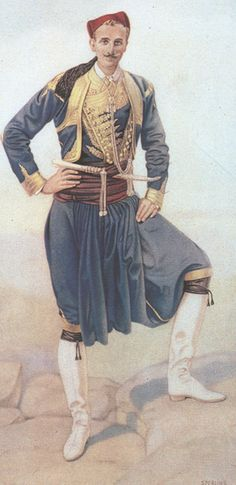 Cretan man's town costume including vraka trousers. By Nicholas Sperling (Greek Costume Collection, Greek Traditional Dress, Traditional Outfits, Ancient Greek Clothing, Greek Dancing, Costumes Around The World, Greek History, Greek Culture, Costume Collection, Folk Costume