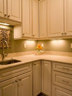 Under-cabinet Lighting Brightens Cottage Kitchen Corner - on HGTV