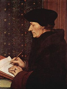 Hans Holbein El Jove, Retrat d'Erasme de Rotterdam. 1523. Oli i tremp sobre fusta, 42 x 32 cm. París: Musée du Louvre