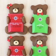 Tea Loving Gingerbread Bears. Adorable grizzlies presenting you with tea!
