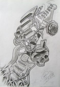 guitar, skulls, piano, rose by Robert-Franke on DeviantArt Guitar Tattoo Design, Music Tattoo Designs, Music Tattoos, Body Art Tattoos, Sleeve Tattoos, Dark Art Drawings, Music Drawings, Tattoo Drawings, Guitar Drawing
