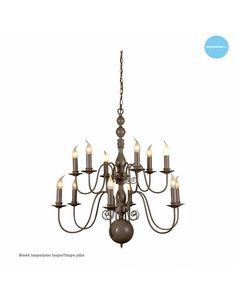 Hanglamp kroonluchter voor 12 kaarslampen grijs, wit, zwart of beige