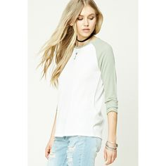 Forever21 Knit Baseball Tee (£7.08) ❤ liked on Polyvore featuring tops, t-shirts, white tee, oversized white tee, raglan sleeve t shirt, oversized white t shirt and baseball tshirt