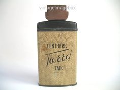 LENTHERIC TWEED Talc vintage talcum powder tin by VintageImageBox,