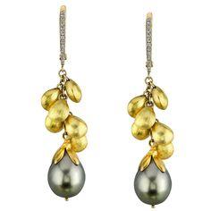 Tahitian Pearl Diamond Gold Dangle Earrings | From a unique collection of vintage dangle earrings at https://www.1stdibs.com/jewelry/earrings/dangle-earrings/