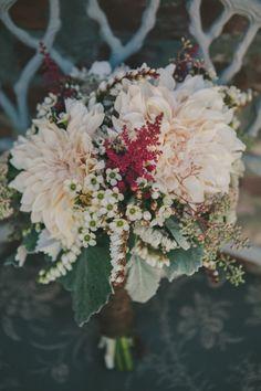 eclectic dahlia bouquet, photo by Fondly Forever http://ruffledblog.com/intimate-big-sur-wedding #flowers #bouquet