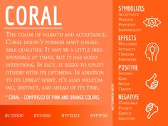 Coral Color, Orange Color, Color Symbolism, Orange Symbolism, Colors And Emotions, Color Meanings, Color Psychology, Art Therapy, Colour Therapy