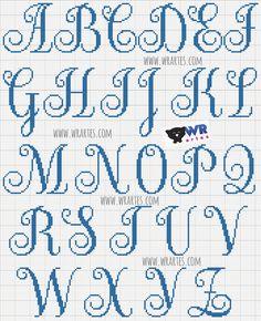 Gráfico alfabeto maiúsculo para ponto cruz
