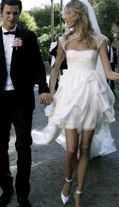 short wedding dress + peony boutonniere