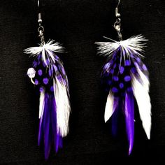 Feather Fishing Lure Earrings, Purple and White, $15.00