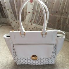 Lulu Cream and Gold Perforated Satchel Like New! So Gorgeous!! Lulu's Bags Satchels