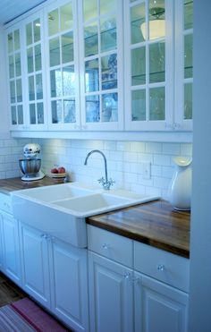 Sally's Sweet Galley Kitchen — IKEA Lindingo cabinets, IKEA double farmhouse…
