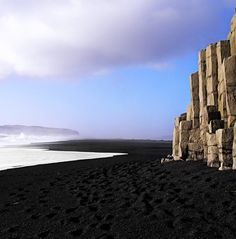 Black Sand Beach in Iceland. - this must be gorgeous to see, but would definitely need a shower before going home :) :)