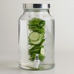 Glass Infuser Dispenser  at Cost Plus World Market >> #WorldMarket Outdoor Entertaining, Outdoor Decor Tips, Entertaining, Accessories, Tabletop