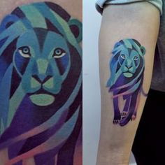 This blue and purple lion: | The 26 Coolest Animal Tattoos From Russian Artist Sasha Unisex