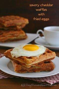 Don't you just love breakfast for dinner? These low carb savory cheddar waffles are great for soaking up the runny yolks of a fried egg. | All Day I Dream About Food