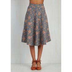 Pink Martini 80s Mid-length Full Simple Math Skirt ($80) via Polyvore featuring skirts, a-line skirt, apparel, bottoms, grey, print midi skirt, grey midi skirt, midi skirt, floral midi skirt and floral a line skirt