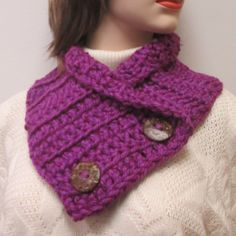 Purple Chunky Scarf, Fall Scarf, Womans Crochet Scarf, Button Wrap Cowl, Winter Knit Scarves, Crochet Scarf, Purple Cowl, Knit Scarves by CeciliaAnnDesigns on Etsy