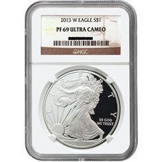 2013-W U.S. American Eagle 1 oz Pure Silver Dollar PR69 Ultra Cameo NGC Brown Label