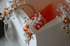 Pearl and orange crystal headbands