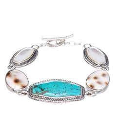 Look at this #zulilyfind! Turquoise & Mother-of-Pearl Cabochon Link Bracelet #zulilyfinds