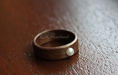 Wooden Ring  American Walnut & Freshwater by HandmadeWoodenRings, $50.00