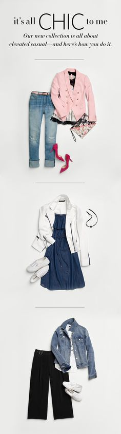 With a little imagination and the right pieces, chic is easy.  Get date-night ready with a pink Trophy Jacket cami, boyfriend jeans & red heels. Elevate your weekend wardrobe with an off-the-shoulder denim dress, white moto jacket and sneaks. Or play it cool with those same Superga® sneakers, denim jacket & tee.  Style Guide   White House Black Market