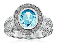 Sterling Silver Blue Cubic Zirconia