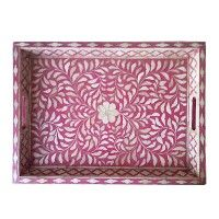 Flower mosaic tray from MOLLYSHOME.COM with inlay carved into wood.