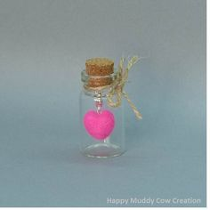 Needle Felted Heart In A Mini Glass Jar by HappyMuddyCow on Etsy