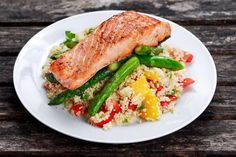 OurPan Fried Salmon with Asparagus & Couscous Salad is savory and ultra-nutritious. Serve and savor!