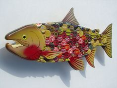 Salmon with Beer Bottlecaps Metal Bottle Cap Fish by EricsEasel