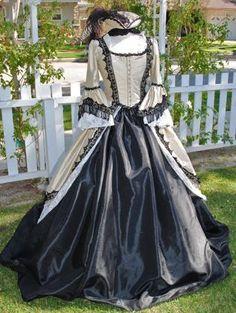 Champagne and Black Victorian Masquerade Dress