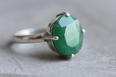 Genuine Emerald ring  Precious ring  Green ring  by Studio1980, $265.00