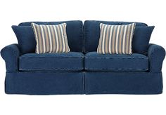 Shop for a Cindy Crawford Home Beachside Blue Denim Sofa at Rooms To Go. Find Sofas that will look great in your home and complement the rest of your furniture.