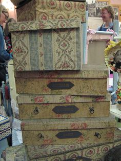 vintage fabric boxes