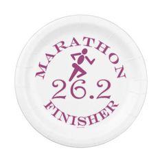 Ladies Running Runner 26.2 Marathon Finisher RND Paper Plate