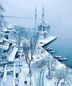Snowfall in Istanbul Turkey.