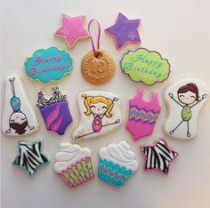 "Jessica Edwards on Instagram: ""Gymnastics cookies for a 10th birthday! #decoratedcookies #customcookies #yxe #gymnastics #cookies #birthday #sugarcookies"""