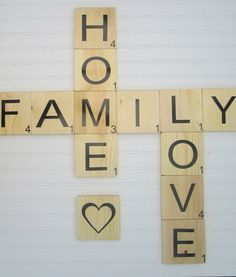Large Scrabble Tiles with the pharse set Love by SouthernMadeSigns