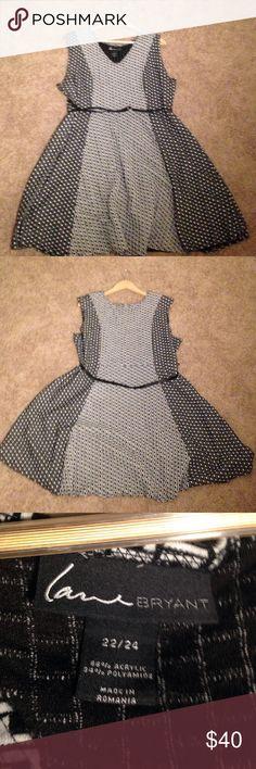 Lane Bryant - Black and White Checkered Dress Adorable black and white Lane Bryant checkered dress. Comes with black, adjustable belt. Lane Bryant Dresses Midi