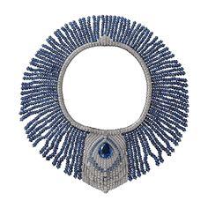Necklace - platinum, one 22.44-carat pear-shaped sapphire, one 1.17-carat pear-shaped diamond, sapphire beads, sapphires, one baguette-cut diamond, pear-shaped diamonds, brilliant-cut diamonds.
