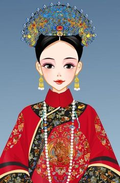 Gold Wedding Crowns, China Art, Qing Dynasty, Princess Zelda, Disney Princess, Snow White, Disney Characters, Fictional Characters, Asia