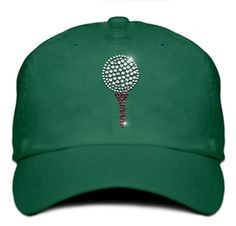 Golf Ball and Tee Rhinestone Women's Cap by Titania Bling