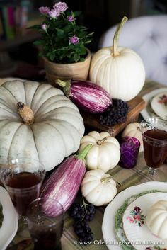 Fall White Pumpkin Table | Celebrating everyday life with Jennifer Carroll