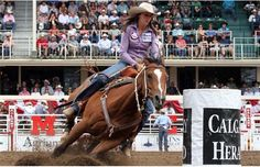 Jody Sheffield of Ogden UT  finished first with a time of 17.35 in the barrel racing on day 9, Wild Card Saturday on July 14, 2012 at the Calgary Stampede Rodeo.