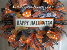 HaPpY HaLLoWeEn Deco Mesh Wreath by ADoorableCreations05 on Etsy